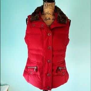 Red Goose Down Faux Fur Puffer Vest 1414